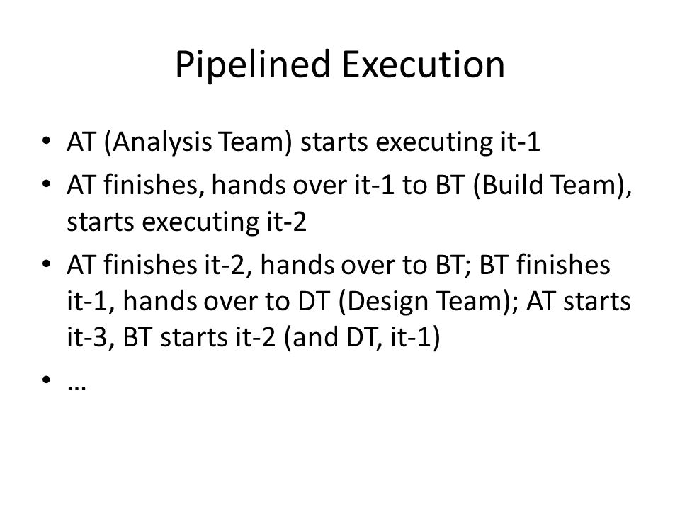 Pipelined Execution AT (Analysis Team) starts executing it-1