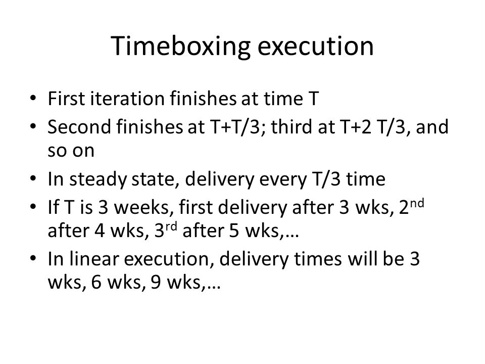 Timeboxing execution First iteration finishes at time T