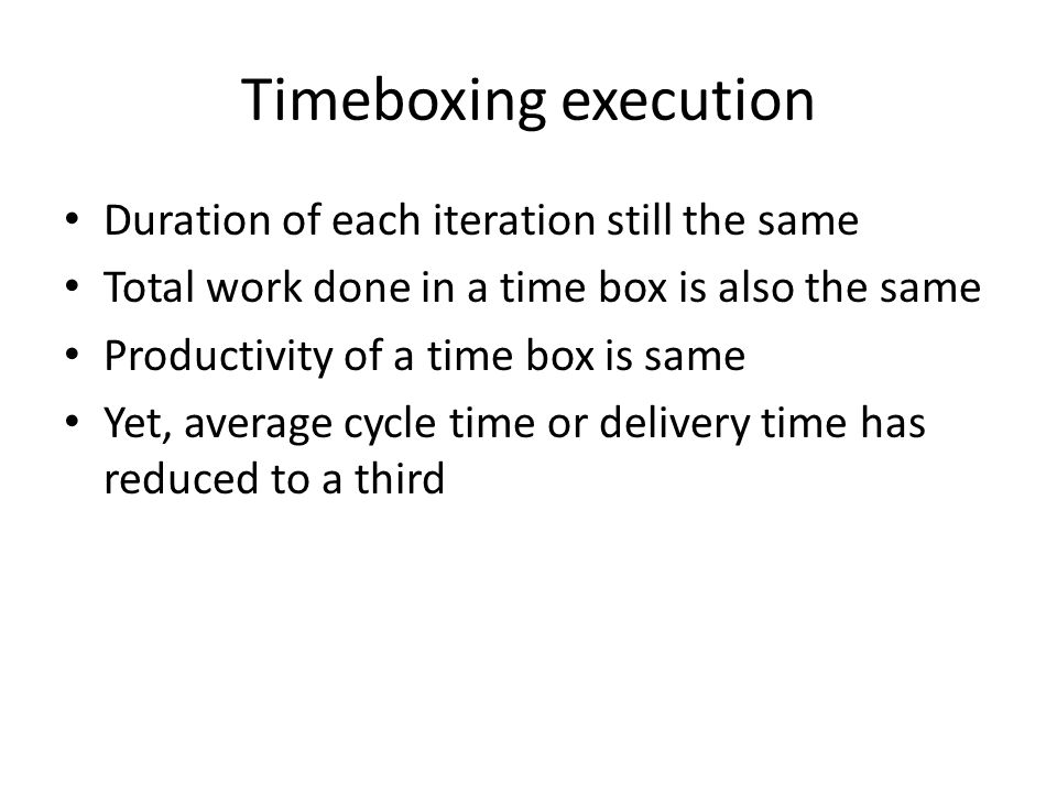 Timeboxing execution Duration of each iteration still the same