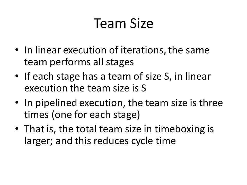 Team Size In linear execution of iterations, the same team performs all stages.