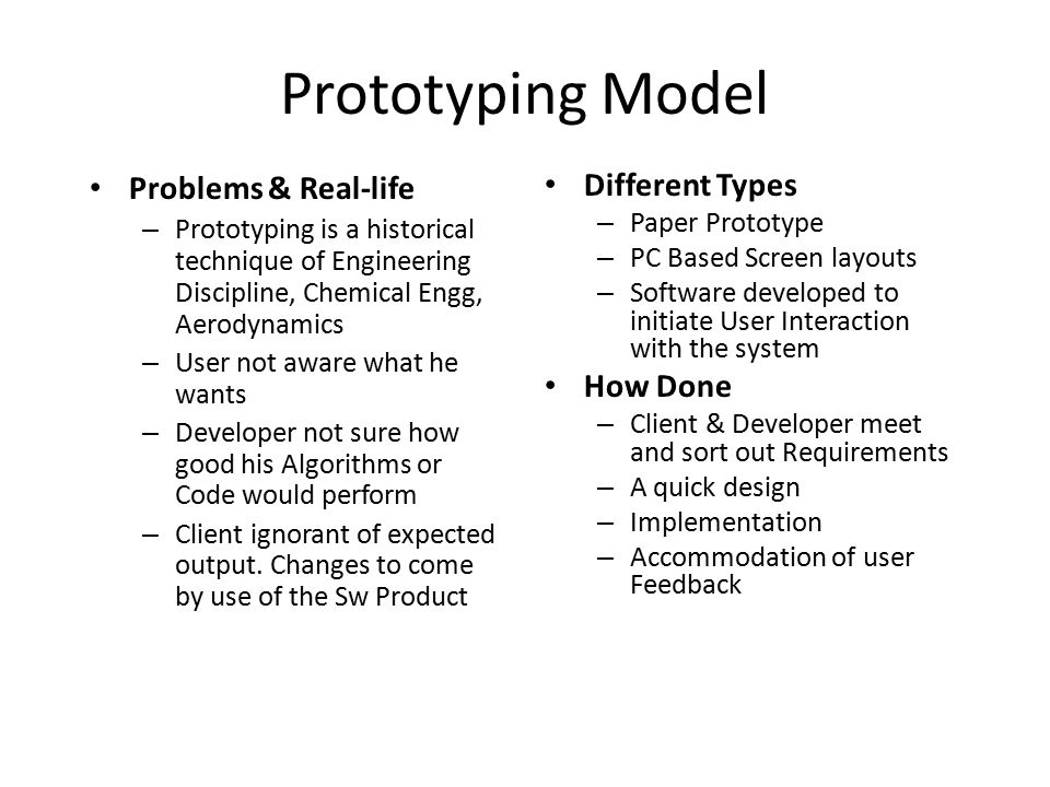 Prototyping Model Problems & Real-life Different Types How Done