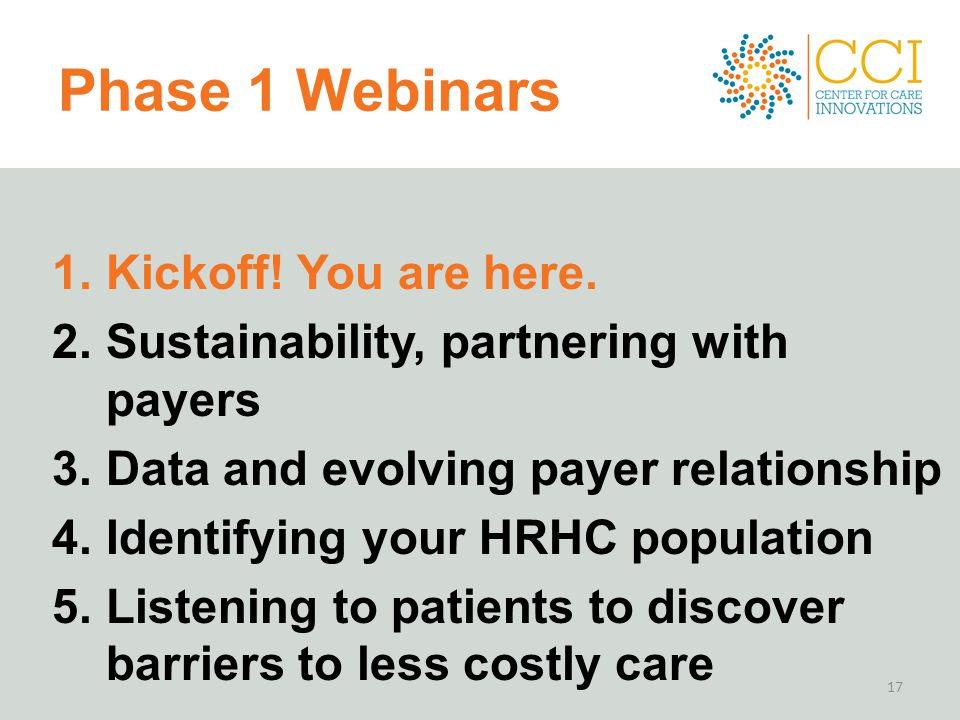 Phase 1 Webinars Kickoff! You are here.
