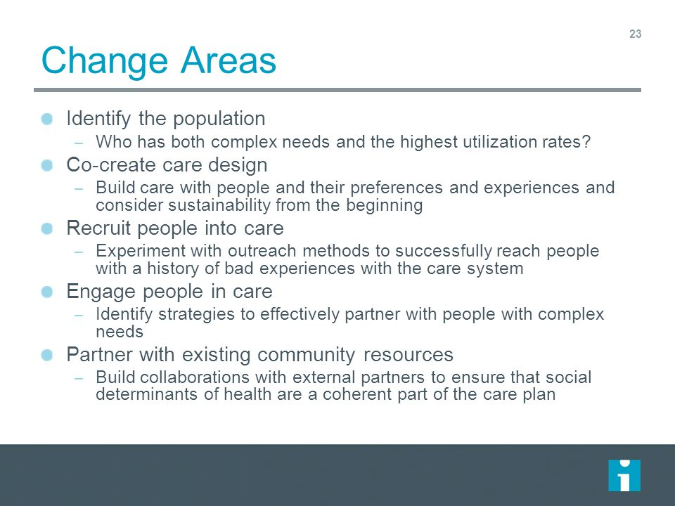 Change Areas Identify the population Co-create care design