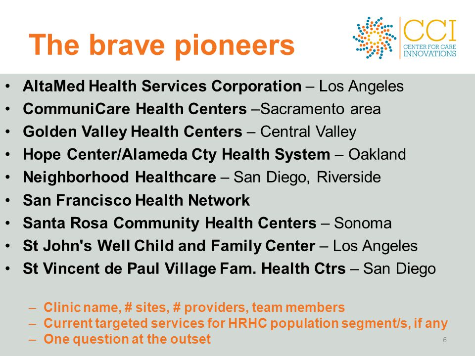 The brave pioneers AltaMed Health Services Corporation – Los Angeles