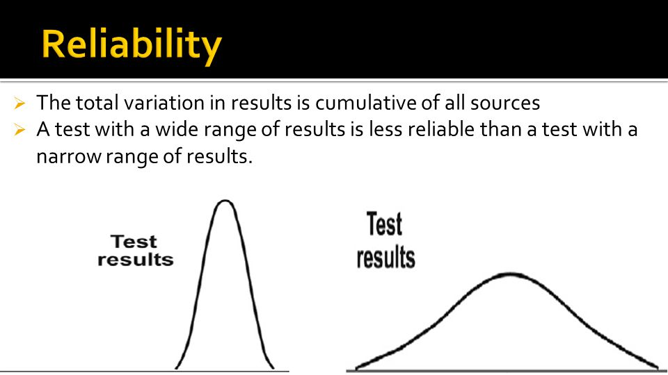 Reliability The total variation in results is cumulative of all sources.