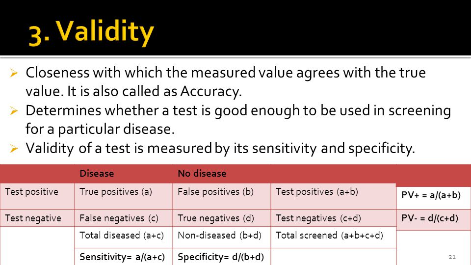 3. Validity Closeness with which the measured value agrees with the true value. It is also called as Accuracy.