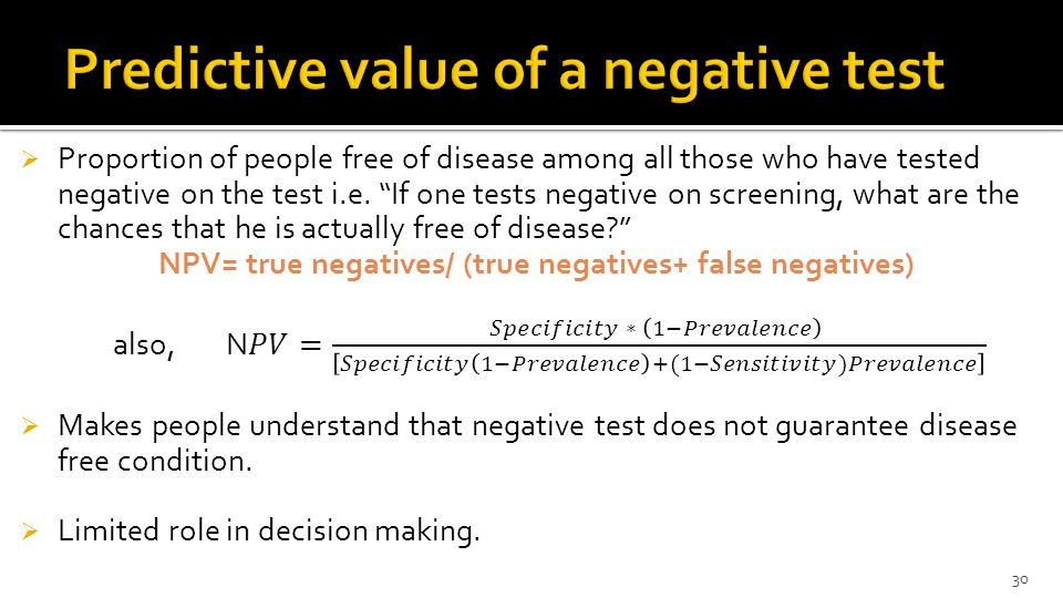 Predictive value of a negative test