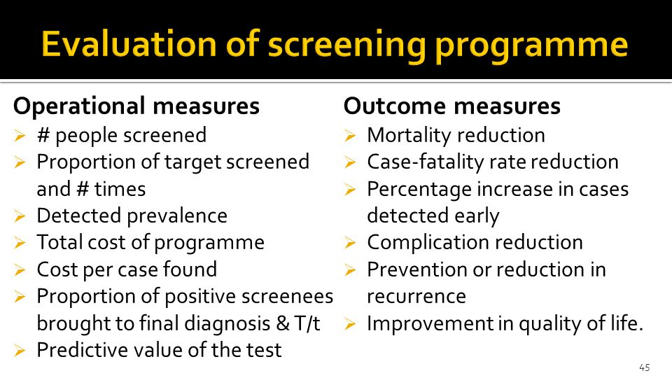 Evaluation of screening programme