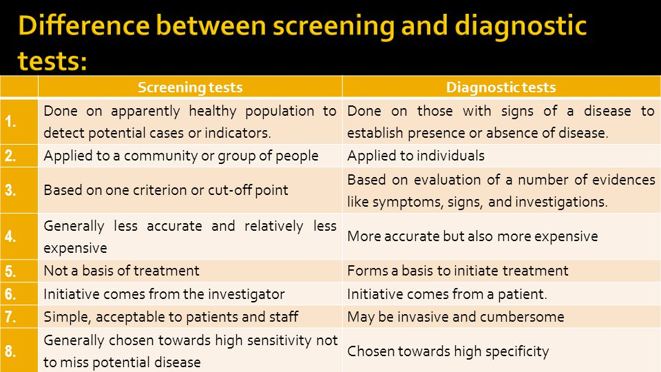 Difference between screening and diagnostic tests: