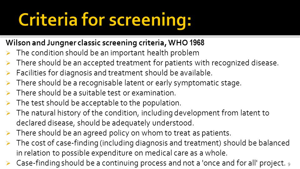 Criteria for screening: