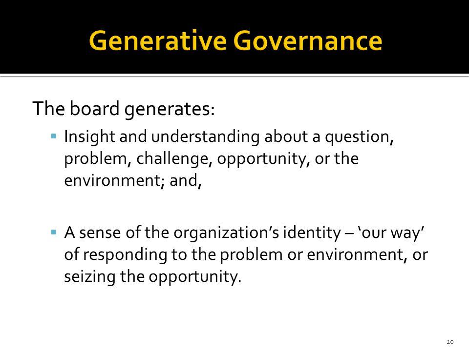 Generative Governance