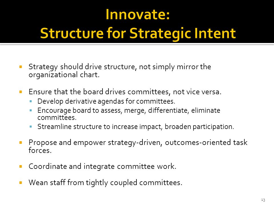 Innovate: Structure for Strategic Intent