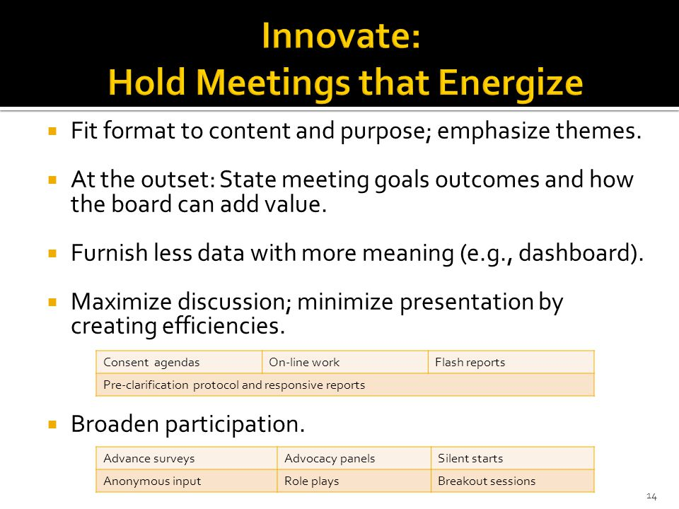Innovate: Hold Meetings that Energize