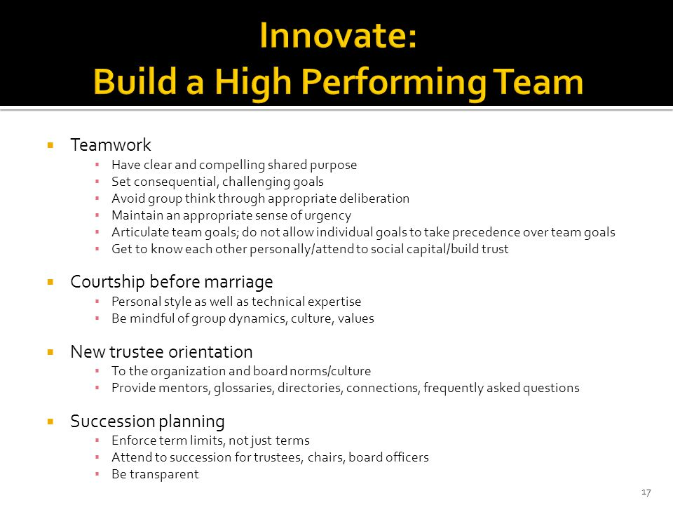 Innovate: Build a High Performing Team