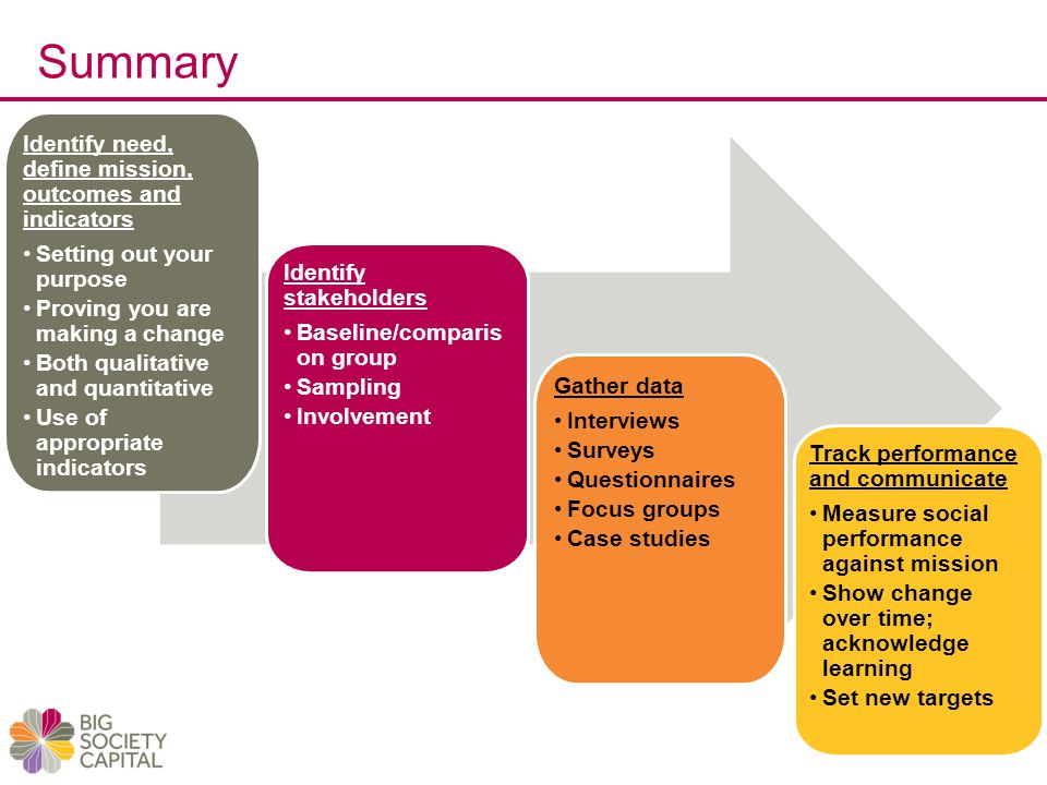 Summary Identify need, define mission, outcomes and indicators