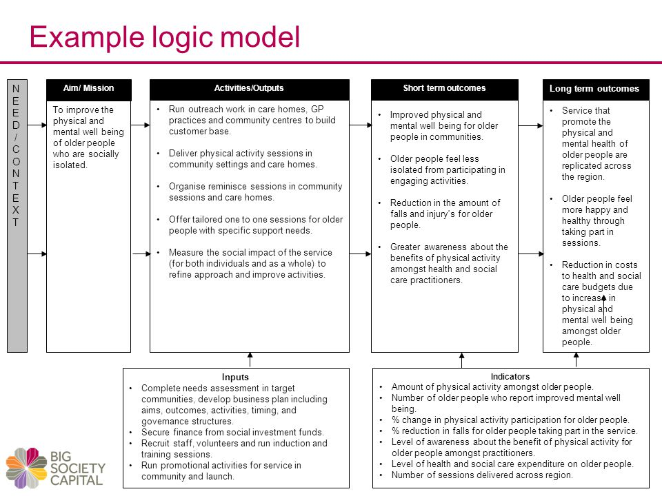 Example logic model Veterans Targeted Programme N E D / C O T X