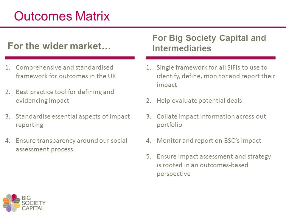 Outcomes Matrix For the wider market… For Big Society Capital and