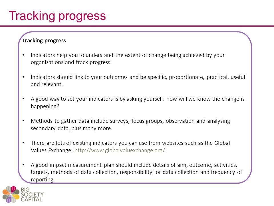 Tracking progress Tracking progress