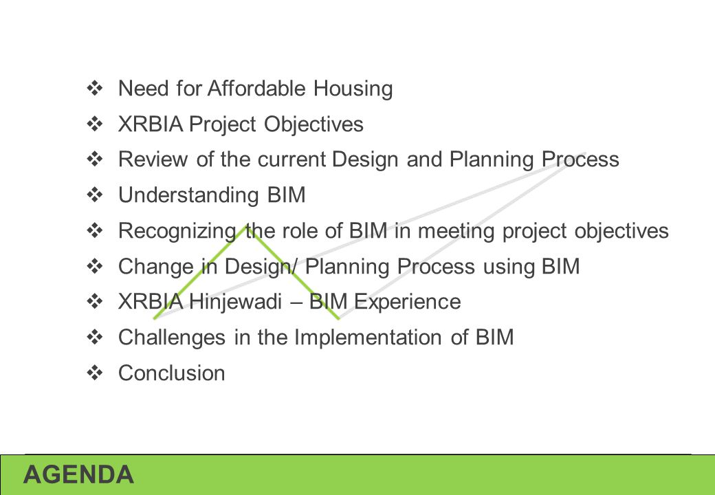 AGENDA Need for Affordable Housing XRBIA Project Objectives