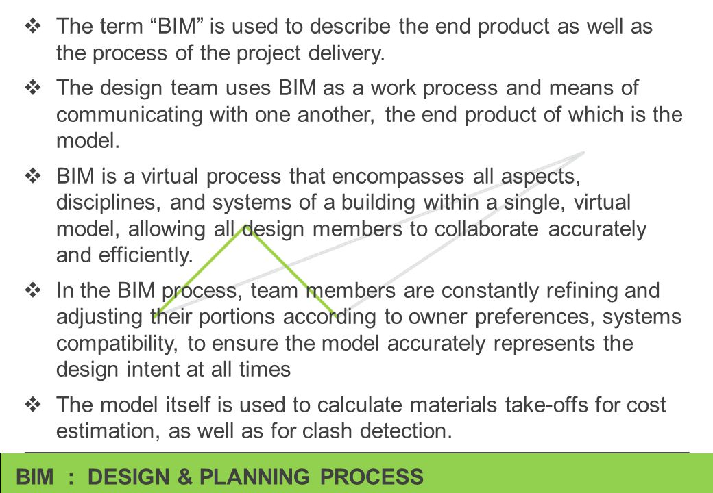 The term BIM is used to describe the end product as well as