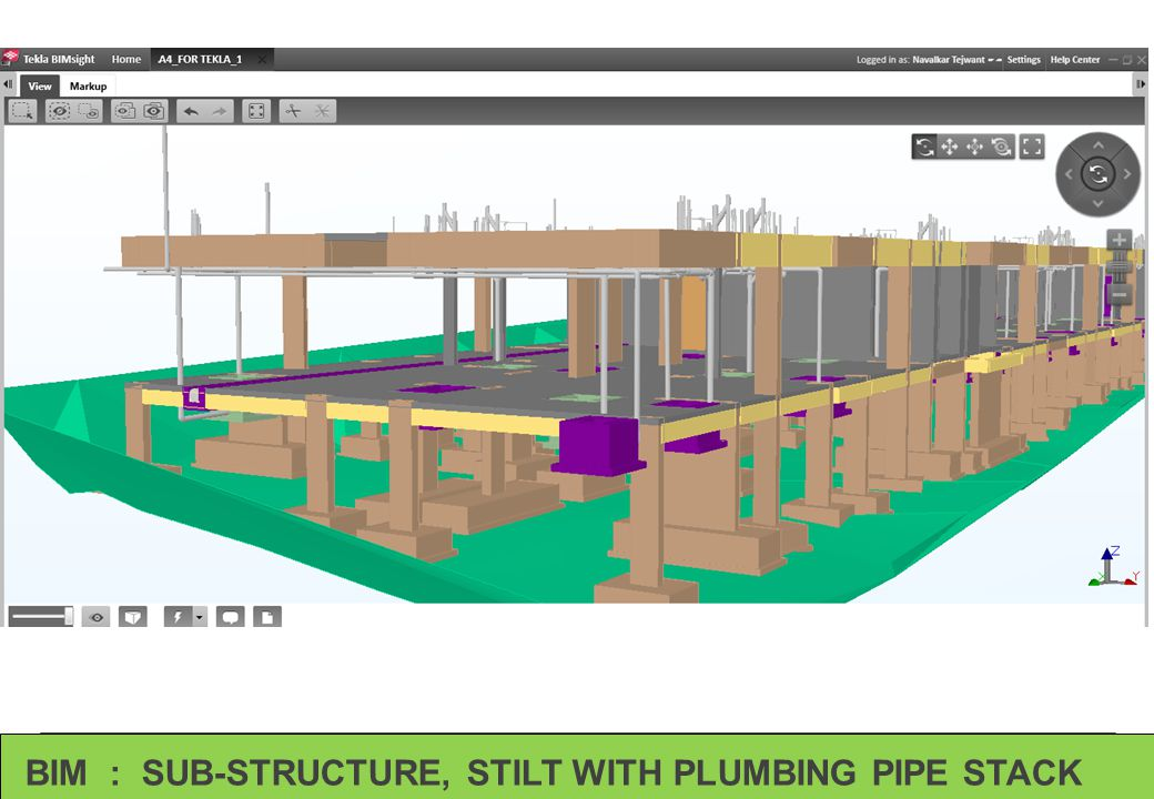 BIM : SUB-STRUCTURE, STILT WITH PLUMBING PIPE STACK