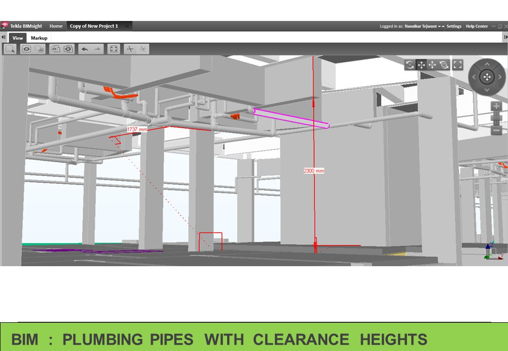BIM : PLUMBING PIPES WITH CLEARANCE HEIGHTS