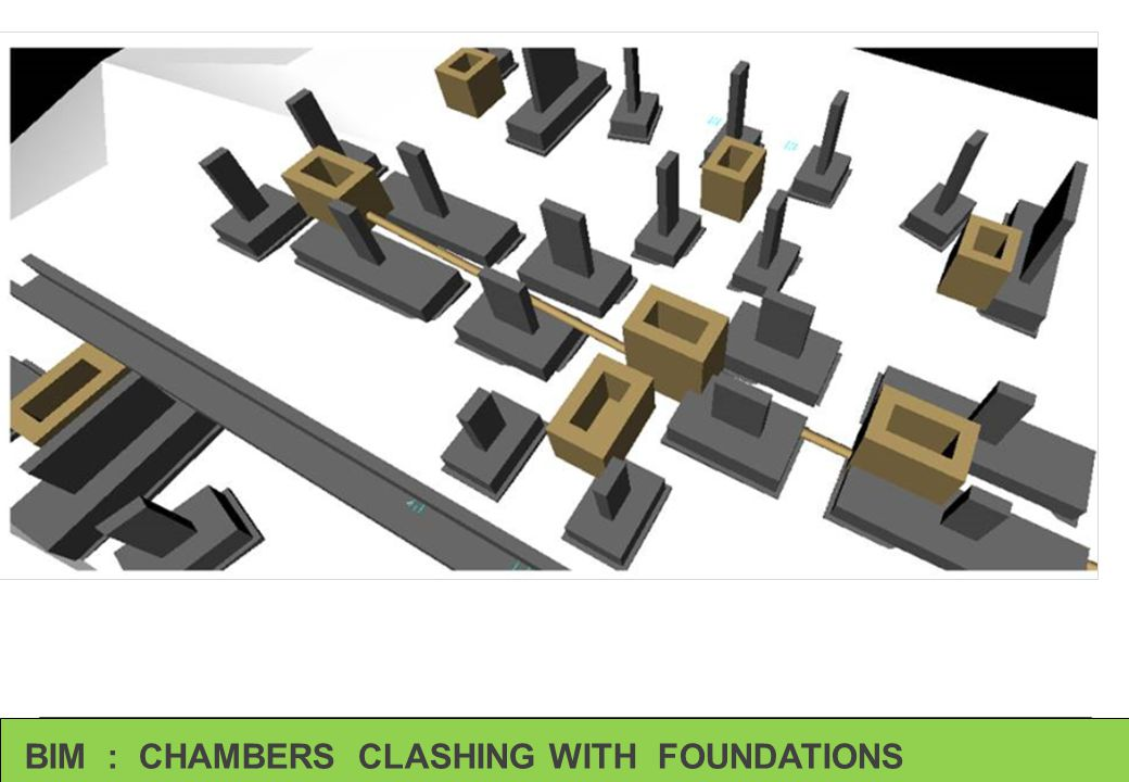 BIM : CHAMBERS CLASHING WITH FOUNDATIONS