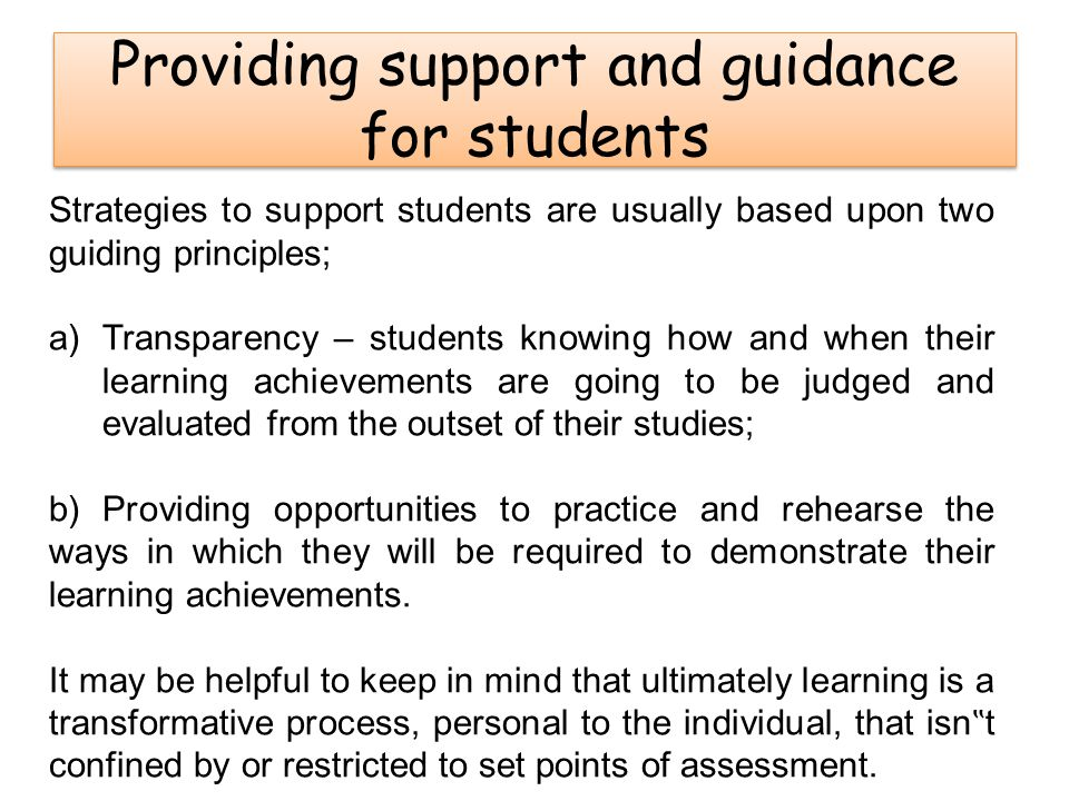 Providing support and guidance for students