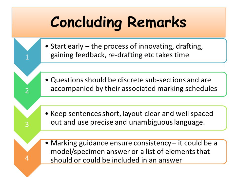 Concluding Remarks 1. Start early – the process of innovating, drafting, gaining feedback, re-drafting etc takes time.