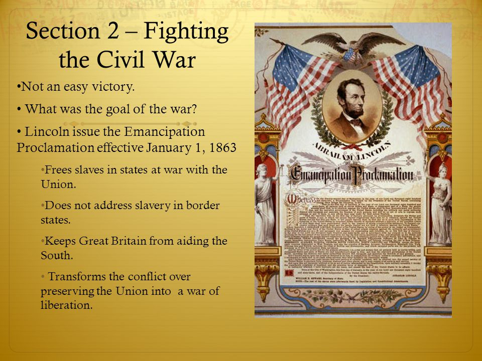 Section 2 – Fighting the Civil War