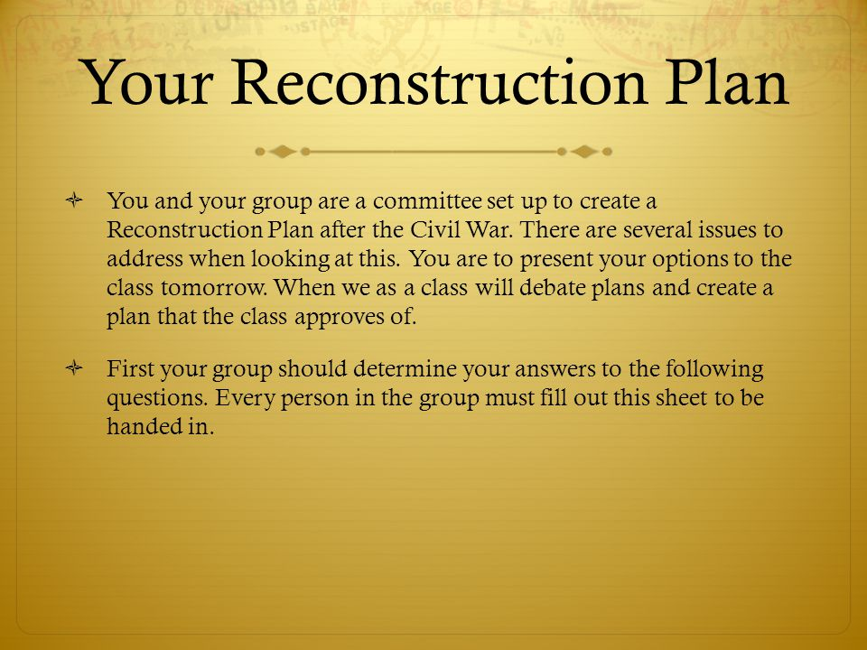 Your Reconstruction Plan