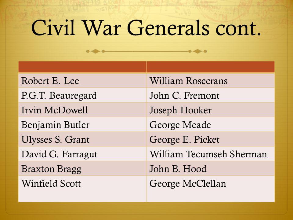 Civil War Generals cont.
