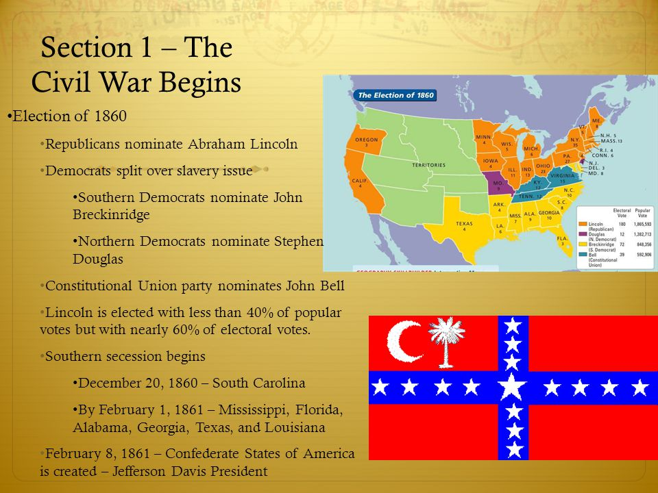 Section 1 – The Civil War Begins