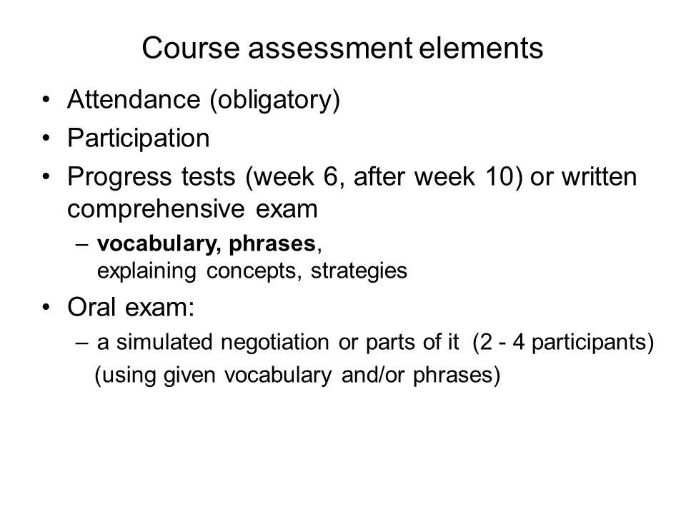 Course assessment elements