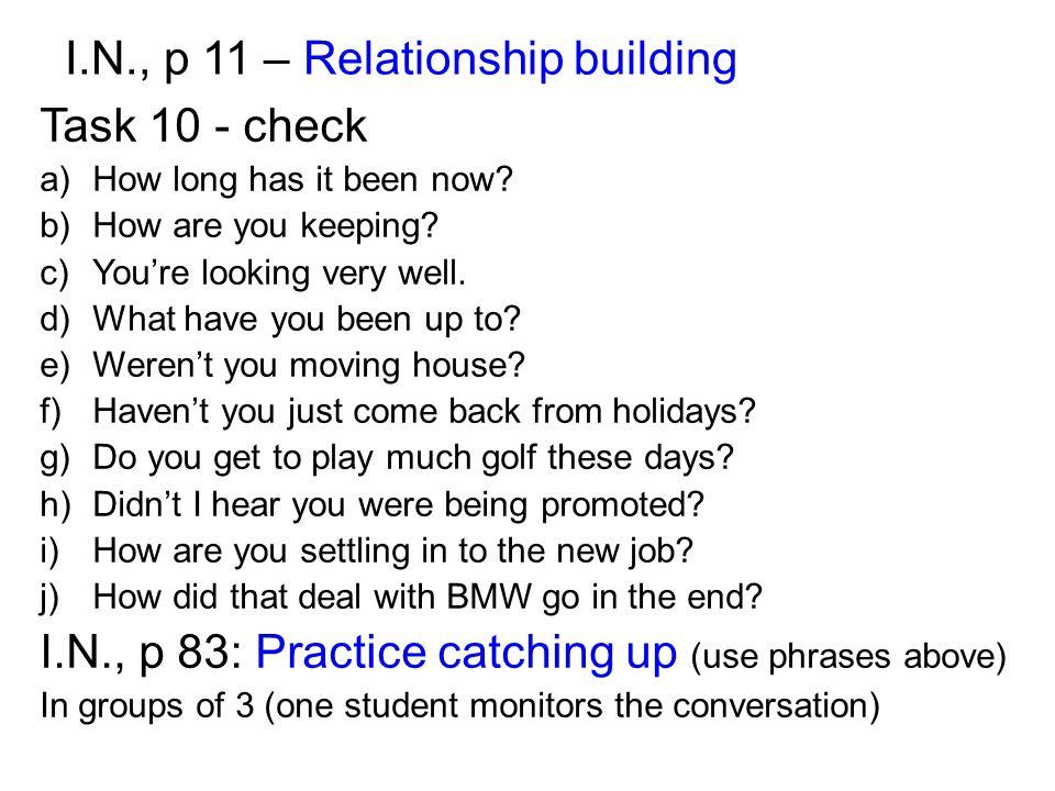 I.N., p 11 – Relationship building