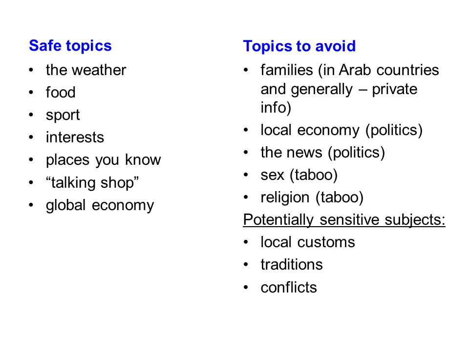 Safe topics Topics to avoid. the weather. food. sport. interests. places you know. talking shop