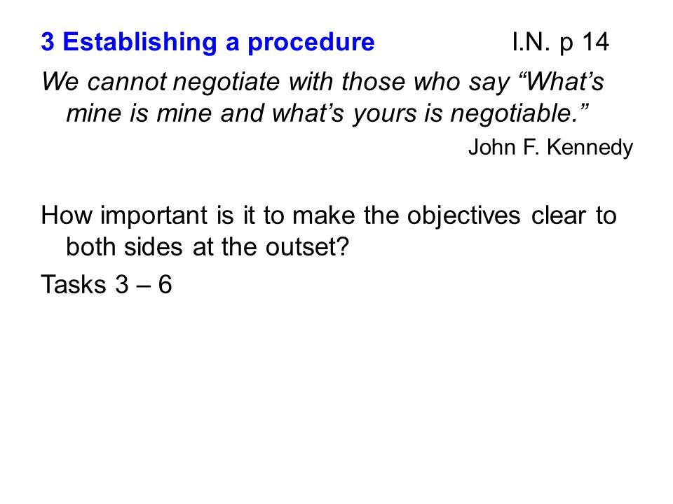 3 Establishing a procedure I.N. p 14