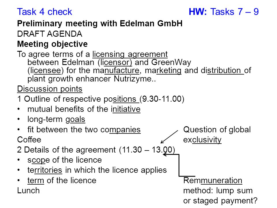 Task 4 check HW: Tasks 7 – 9 Preliminary meeting with Edelman GmbH