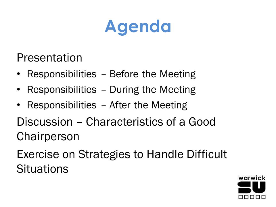 Agenda Presentation Discussion – Characteristics of a Good Chairperson