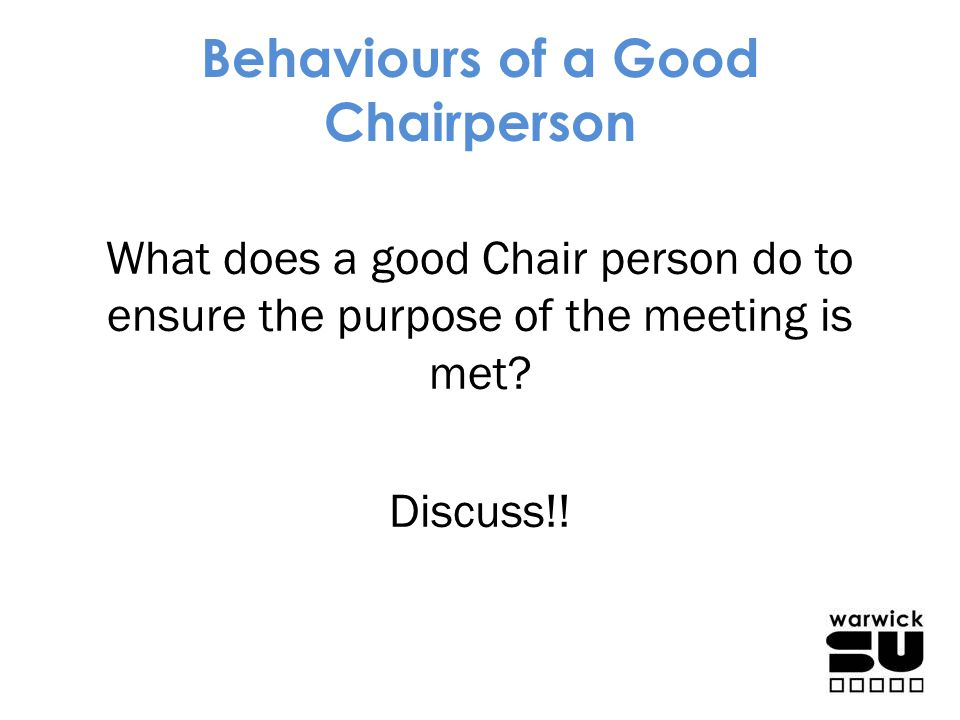 Behaviours of a Good Chairperson