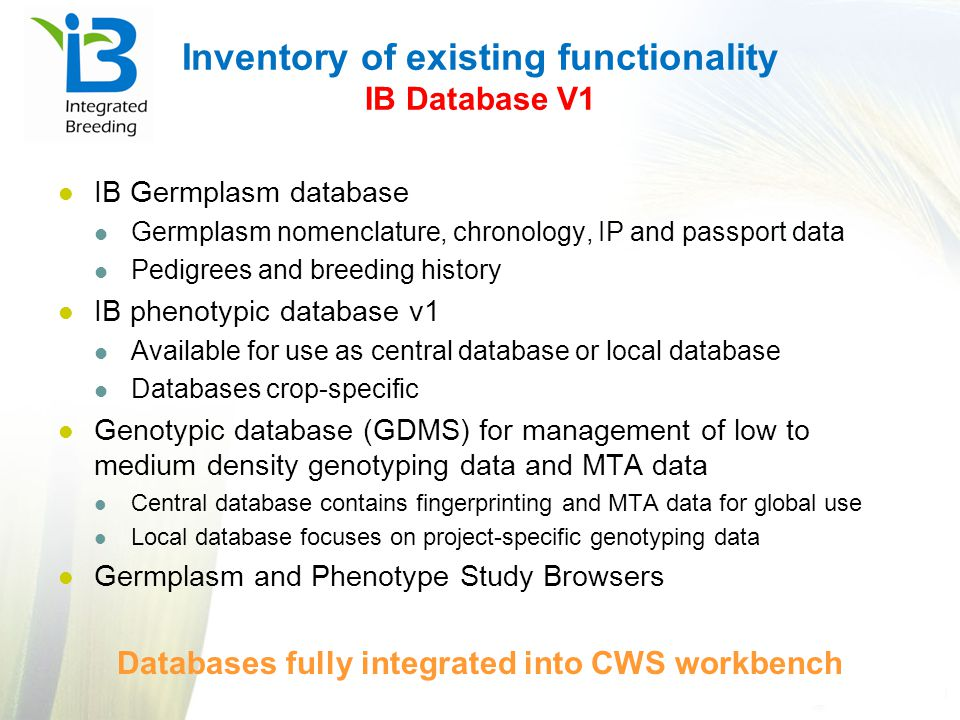 Inventory of existing functionality IB Database V1
