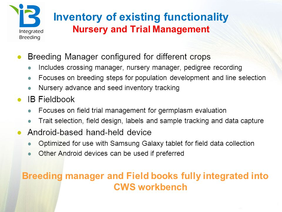 Inventory of existing functionality Nursery and Trial Management
