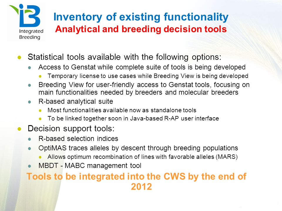 Tools to be integrated into the CWS by the end of 2012