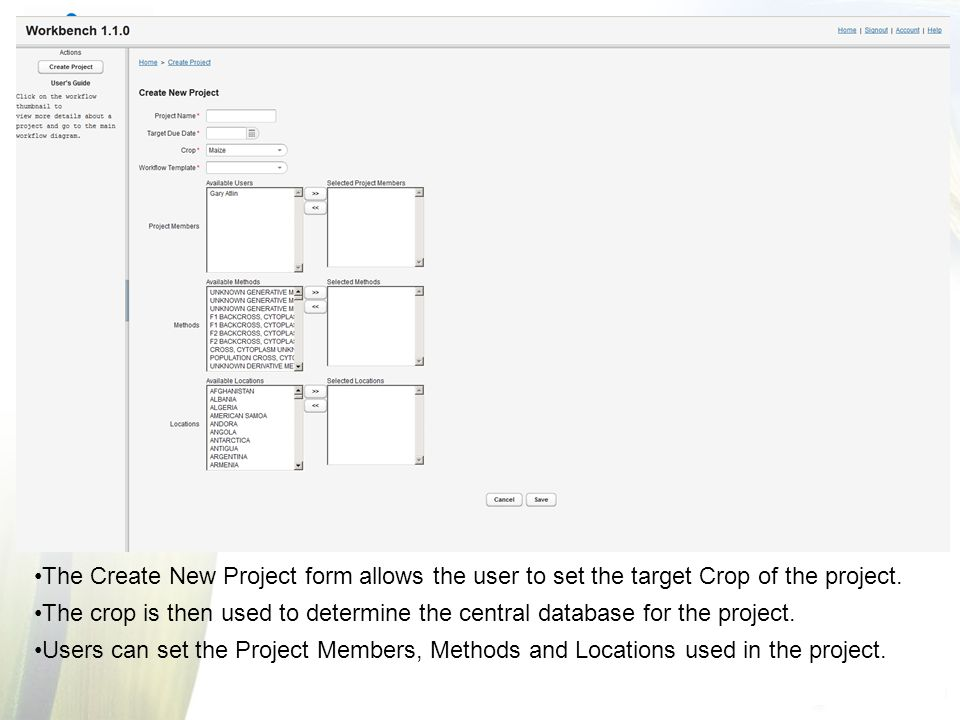 The Create New Project form allows the user to set the target Crop of the project.