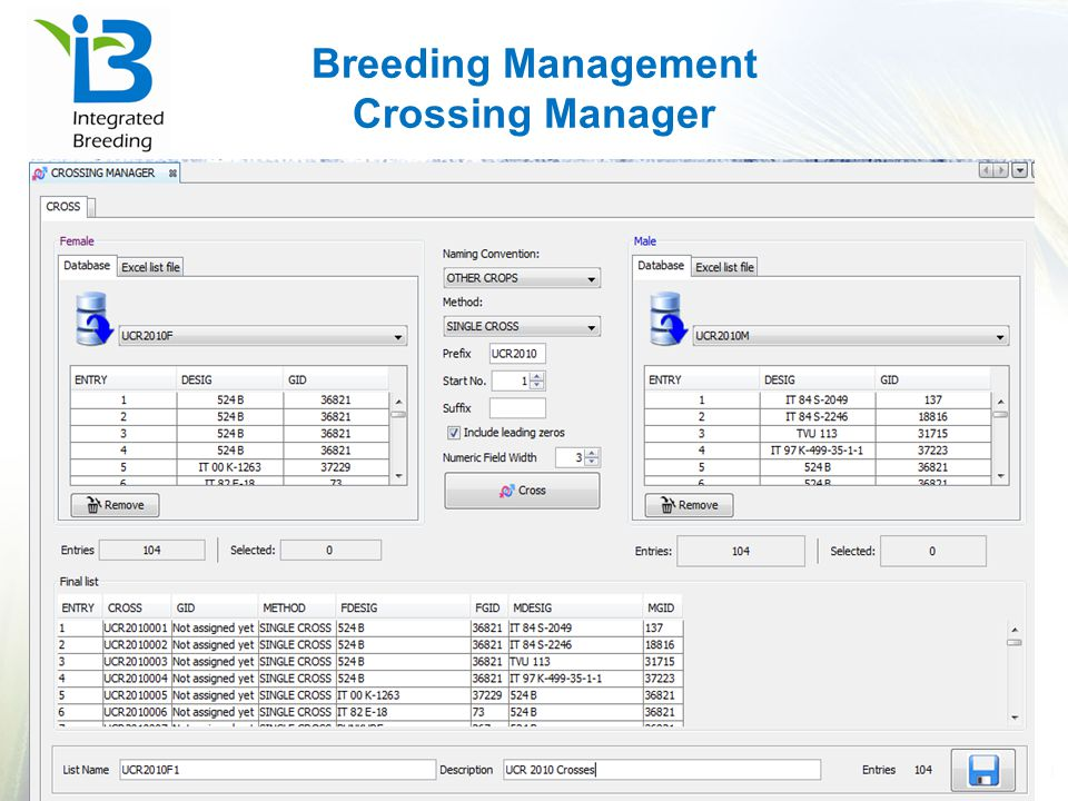 Breeding Management Crossing Manager