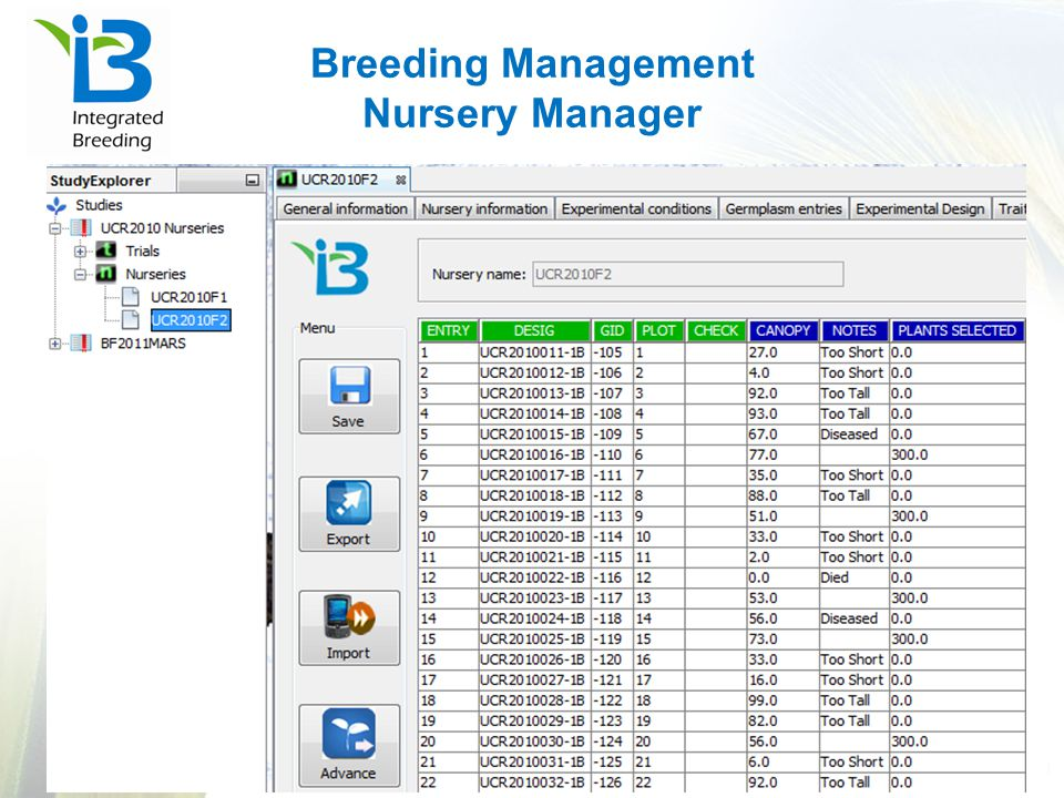 Breeding Management Nursery Manager
