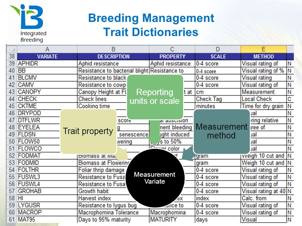 Breeding Management Trait Dictionaries