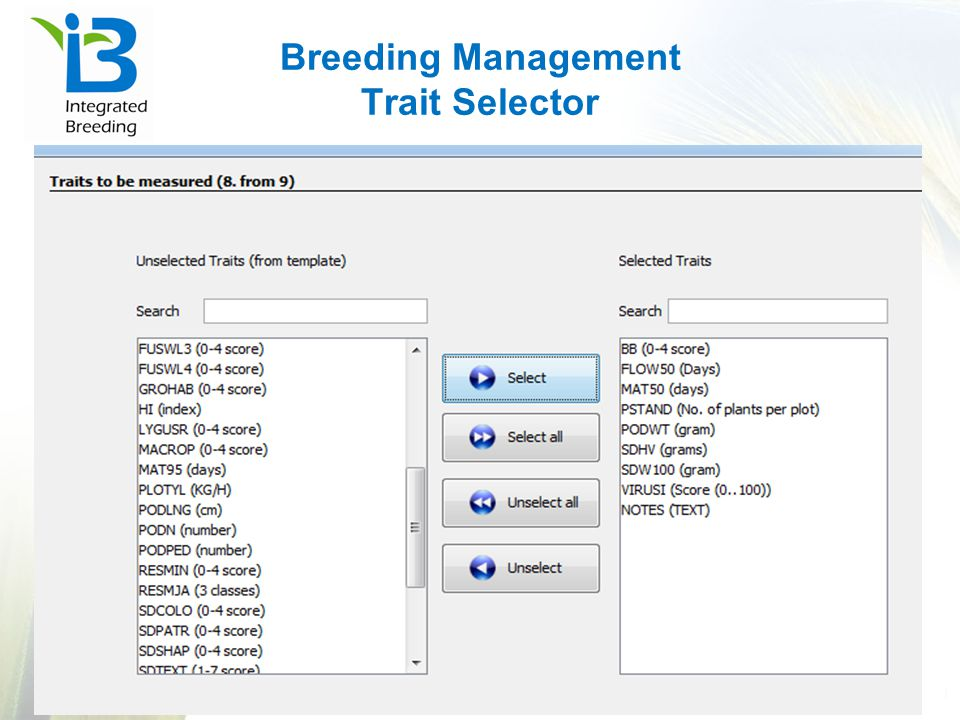 Breeding Management Trait Selector