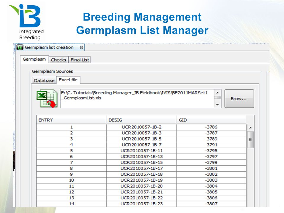 Breeding Management Germplasm List Manager