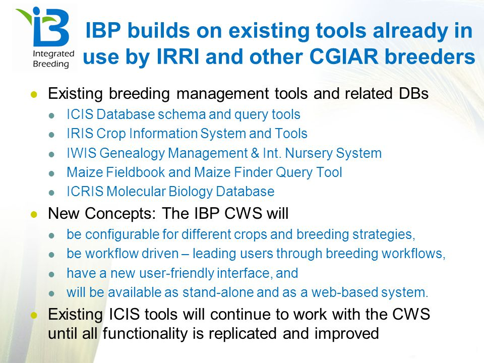 IBP builds on existing tools already in use by IRRI and other CGIAR breeders